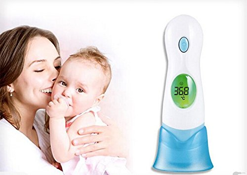 Generic Digital Thermometer 8-in-1 Baby Adult Body Ear Forehead Ambient Clock Infrared Color White