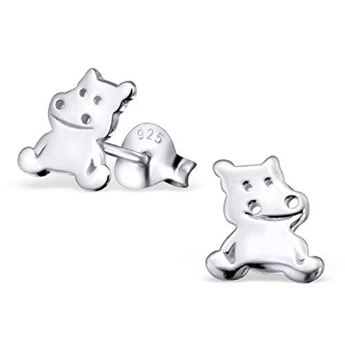 Laimons - Boucles d'oreille hippopotame - enfant - argent sterling 925 - finition brillante