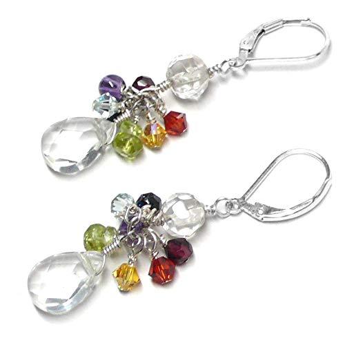 Quartz Crystal Briolette Chakra Gemstone Cluster Drop Earrings