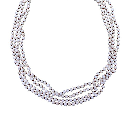 BjB 70 Inch 4MM Natural Polished White Magnesite Stone Beaded Light Weight Endless Infinity Long Necklace