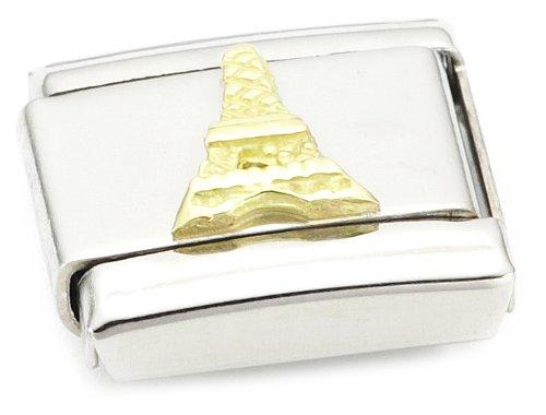 Nomination 030123 - Maillon pour bracelet composable Mixte - Acier inoxydable et Or jaune 18 cts