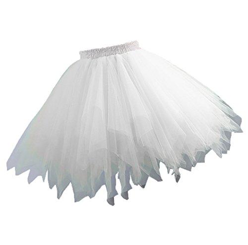 Yinyyinhs Women's Vintage Short Petticoat Skirt Ballet Bubble Tutu Multi-Colored White Pettiskirt Size Small and Medium (Short Bubble Skirt)