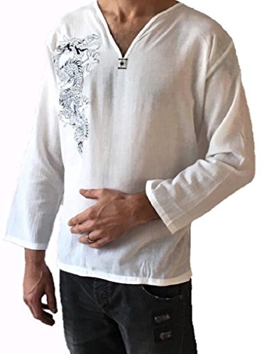 Men's Light Weight 100% Cotton Dragon Shirt (M) White