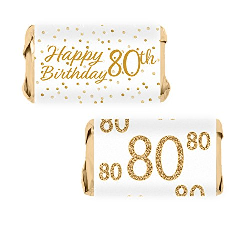 80th Birthday Party Miniatures Candy Bar Wrapper Stickers - White and Gold (54 Count) -