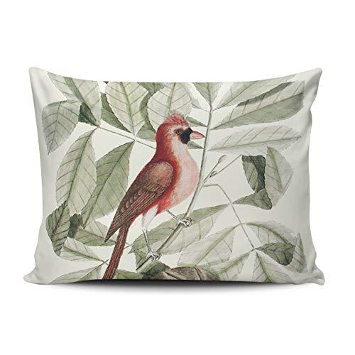 XIUBA Pillowcases Red and Green Vintage Green Red Beautiful Cardinal Bird Floral Customizable Decorative Rectangle 20x30 inch Queen Size Throw Pillow Case Hidden Zipper One Side Design Printed ()