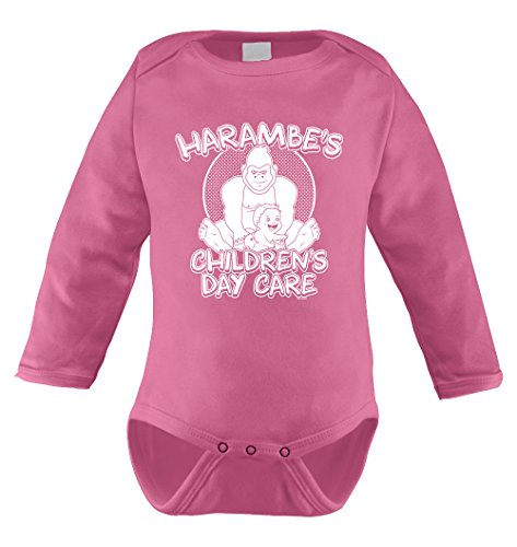 [Harambe's Children Daycare Long Sleeve Bodysuit (12 Months, PINK)] (Pink Gorilla Suit)