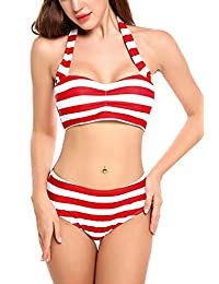 Avidlove Women Push up Bikini Set Stripped Swimsuits Two Pieces Swimwear