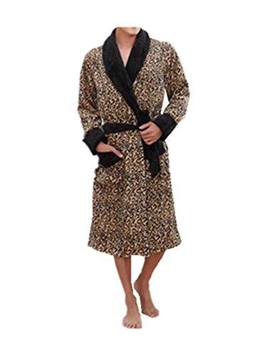 Leright Men's Flannel Kimono Robe Plush Luxury Sleepwear ...