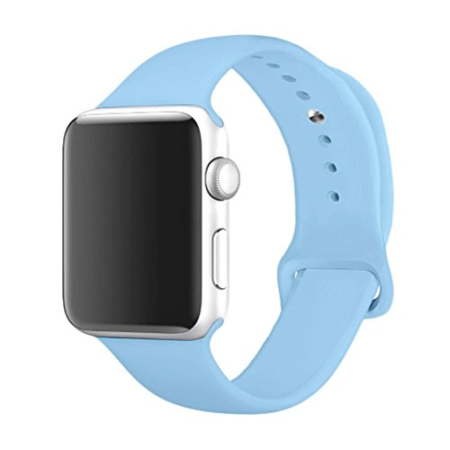 Mairix for Apple Watch Band 38mm, Soft Silicone Sport Replacement Band for Apple Watch Series 3 2 1, M/L Size, 38mm Light Blue