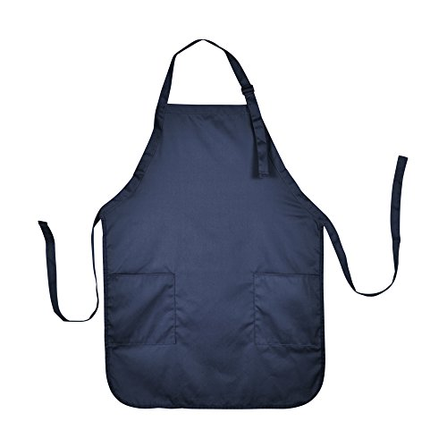 Apron Commercial Restaurant Home Bib Spun Poly Cotton Kitchen Aprons (2 Pockets) in Navy Blue 72 PACK by DALIX