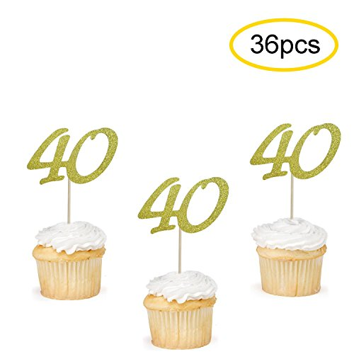 40 Cupcake Toppers Gold | 40th Birthday Cupcake Toppers Picks | 40th Anniversary Party Supplies | Set of 36 -