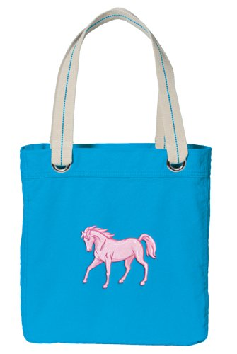 - Horses Tote Bag DELUXE Dye Washed COTTON CANVAS Turquoise