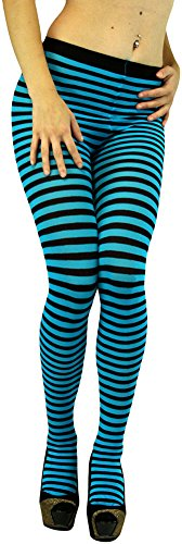 ToBeInStyle Women's Colorful Opaque Striped Tights Pantyhose Stocking Hosiery - Black/Turquoise - One -