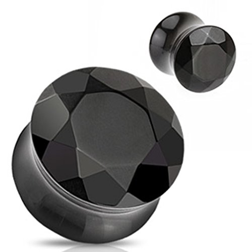 Dynamique Pair of Black Agate Semi Precious Stone Faceted Gem Cut Double Flared Plugs