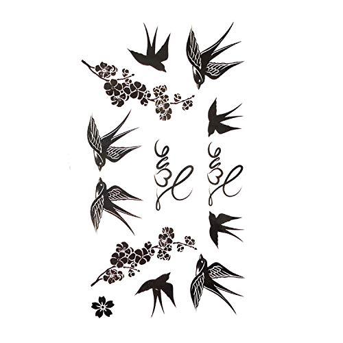 - Cute Swallow Bird Feather Temporary Stickers Flower Branch Letter Water Transfer Tattoo Women Body Chest Arm Art Tattoo Men Hand,A13