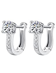Richy-Glory - Silver plated Simulated Diamond crystal Hoop Earrings