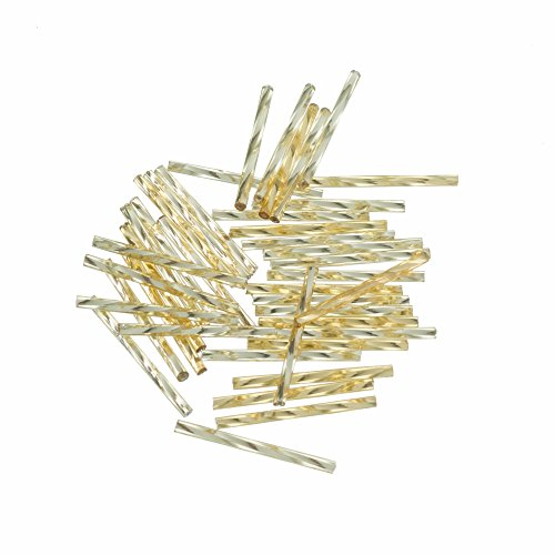 Efco Bugle Beads Silver-Lined Twisted ø 2 x 30 mm 10 g Gold