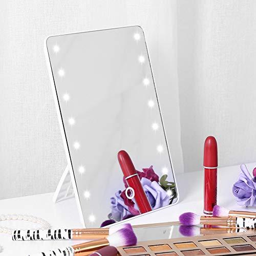 Espejo de maquillaje iluminado, espejo de vanidad iluminado con pantalla tactil, rotacion de espejo de tocador cosmetico iluminado de mesa regulable