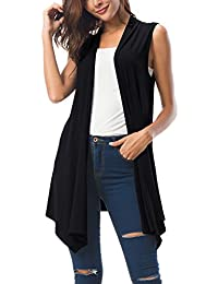 Urban CoCo Women's Sleeveless Asymmetric Hem Open Front Cardigan Vest