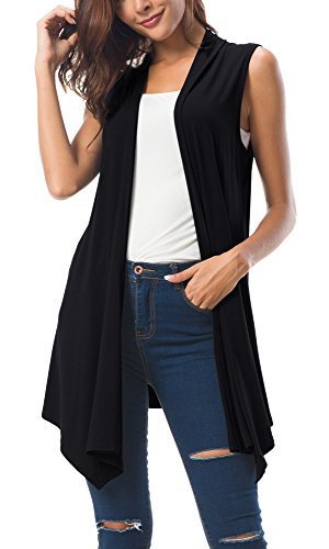 Women's Sleeveless Draped Open Front Cardigan Vest Asymmetric Hem (L, Black)