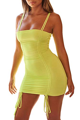 - Velius Women's Sexy Front Drawstring Off Shoulder Knitted Ruched Bodycon Clubwear Mini Dress (Large, Neon Yellow)