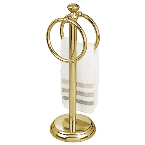 """mDesign Decorative Metal Fingertip Towel Holder Stand for Bathroom Vanity Countertops to Display and Store Small Guest Towels or Washcloths - 2 Hanging Rings, 14.25"""" High - Soft Brass"""