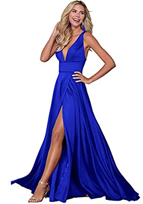 V Neck Split Prom Evening Dress for Women A-Line Long Satin Formal Party Gown Z22