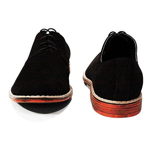 PeppeShoes Modello Panteone - Handgemachtes Italienisch Leder Herren Schwarz Oxfords Abendschuhe Schnürhalbschuhe - Rindsleder Wildleder - Schnüren