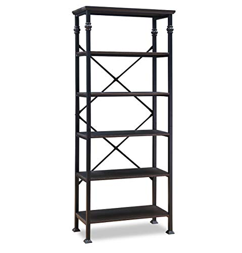 O&K FURNITURE 6-Tier Open Back Bookshelf, Industrial Style Bookcases Furniture Decor Home Office, Black-Espresso