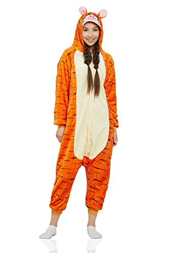 Adult Tiger Kigurumi Animal Onesie Pajamas Plush Onsie One Piece Cosplay Costume (X-Large, Orange, Yellow)