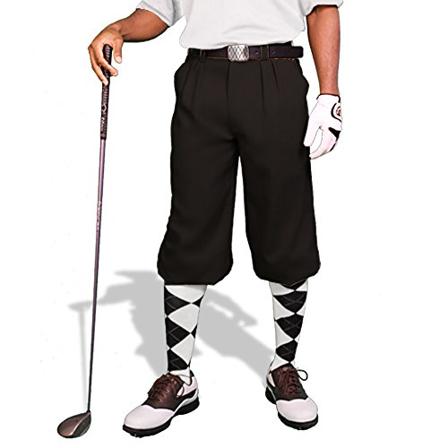 Black Golf Knickers: Mens 'Par 3' - Microfiber - 36""
