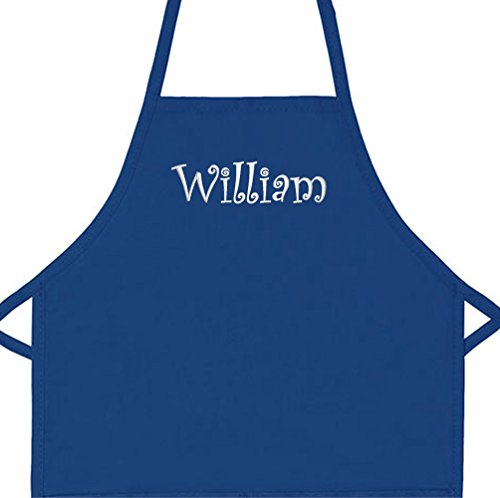 Personalized Apron Embroidered Add a Name Kids Apron (Royal, Long 16