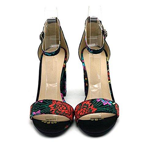 la del las mujeres de 11 sandalias EU39 US8 de con CN39 tacón forman los la Las moda KUKI de los cabeza UK6 bordado de alto redondos zapatos zapatos UwtPIEqW