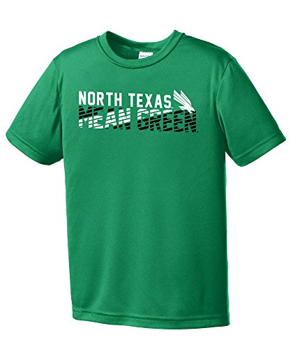 - Image One NCAA North Texas Mean Green Youth Boys Diagonal Short sleeve Polyester Competitor T-Shirt, Youth Medium,Kelly