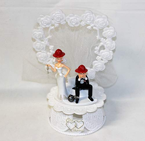 Wedding Party Reception Fireman Firewoman Bride and Groom Cake Topper]()