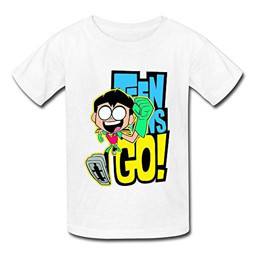 YAQI Kid's Teen Titans Go Robin T-Shirt White XL (Robin Custome)