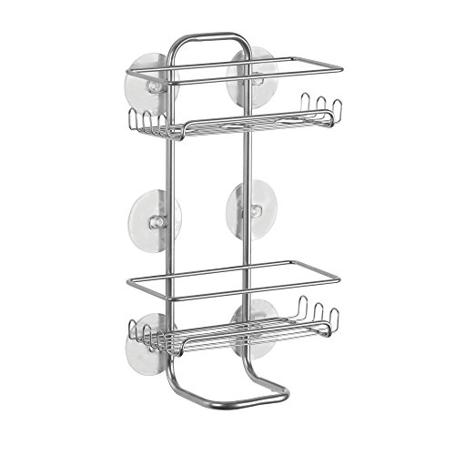 (InterDesign Classico Suction Bathroom Caddy - Shower Storage Shelves for Shampoo, Conditioner and Soap - Jumbo, Silver)