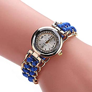 Women Quartz Watches Analog Ladies Watches Girl Watches Leather Female Watches (Blue)