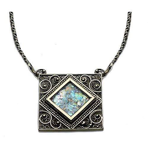 Baltinester | Sterling Silver Ornate Filigree Roman Glass Square Pendant Necklace with Silver Rope Chain