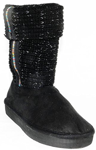 Vrouwen Multi Kleur Warme Winter Bont Sneeuw Gebreide Trui Haak Half Kalf Platte Laars Schoenen Zwart-macho