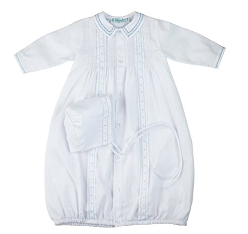 (Feltman Brothers White & Blue Tucked Take Me Home Gown & Bonnet Newborn Boys)