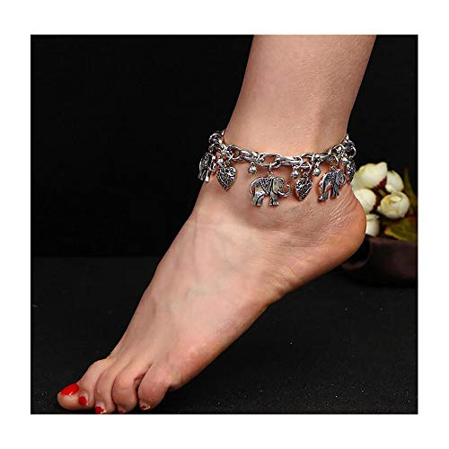 - Missgrace Silver and Gold Elephant Heart Infinity Anklet Foot Chain Beach Jewelry Bohemian Anklet Layer Anklet Jewelry for Woman and Girls (Silver)
