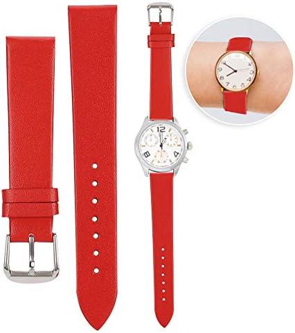 時計ストラップ、1ペア19 mmユニセックスPUレザー時計バンドピンバックル時計バンド交換アクセサリーすべての種類の異なる時計(赤)