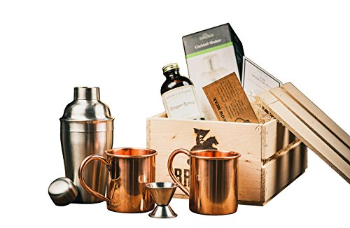 Moscow Mule Cocktail Kit Gift Set (Copper Mug Set 100% Pure Solid Copper) – Moscow Mule Bar Kit – Comes in A Wooden Gift Crate - Great Gift For Men – Cocktail Kit For Men