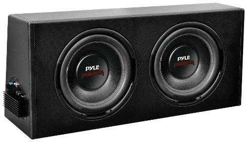 10' 600w Car Subwoofer (Pyle PLPR210A Dual 10-Inch Slim Design Powered Enclosure System)