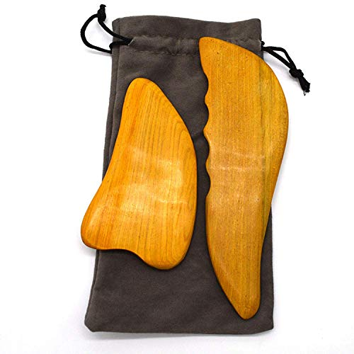 Gua Sha Set for Better Blood Flow and Chronic Pain Management - Scraping Massage Tool Made from Sturdy Camphora Wood – Also Used for Muscle and Joint Pain, Tension, Headaches, Perimenopausal Syndrom