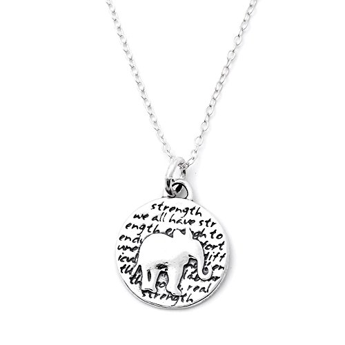 Kevin N Anna Elephant (Strength quote) Sterling Silver Small Pendant Necklace, 18
