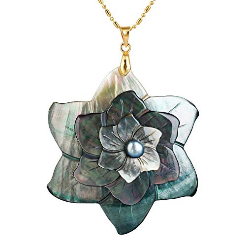 (TUMBEELLUWA Black Sea Shell Pendant Neacklce for Women, Flower Freshwater Pearl Pendant with 19.5