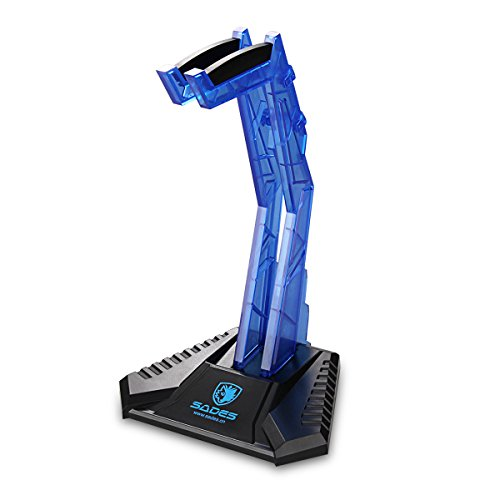 SADES E-Sports Gaming Headphone Cradle, Acrylic Headphone Bracket Stand, Head-mounted Display Rack Headset Hanger Holder For Gamers (Blue)