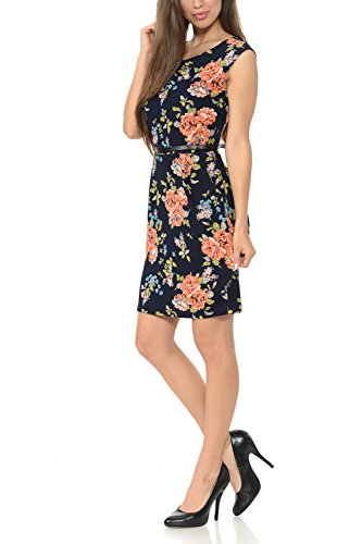 Office Sleeveless Navy Auliné Color Dress Collection Women's Workwear Sheath Floral awfqUOx